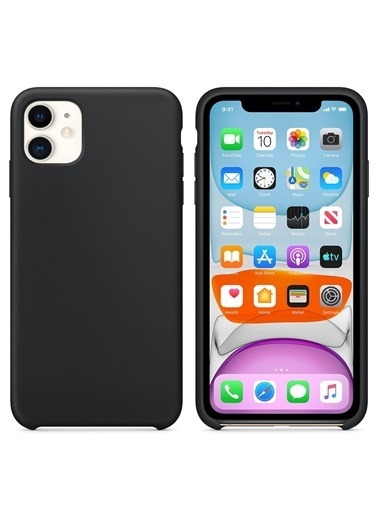 Bludfire Apple iPhone 11 (6.1'') Kılıf Liquid Lansman Silikon Siyah Siyah
